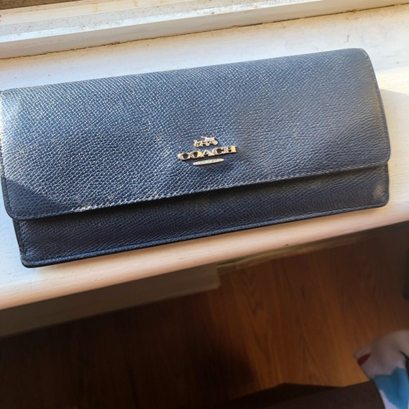 Coach Handbags - Coach leather blue wallet snake leather
